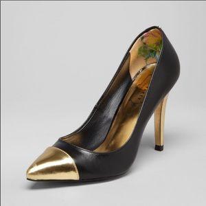 Ted Baker Saysa Black gold metallic pointed heel